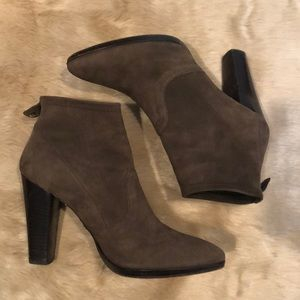 Brown Suede Almond Pointy Ankle Booties Boots